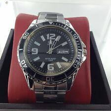 Mens Q&Q Watch by Citizen Black Dial Day Date 50m Mariner Fish Scuba Dive Japan