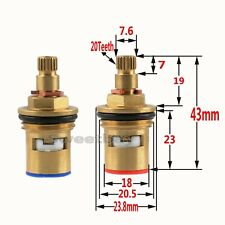 "A Pair 1/2"" Replacement Brass Ceramic Disc Valve Tap Cartridge Insert Basin Bath"