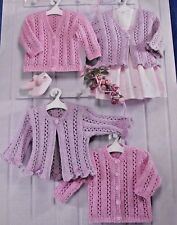"KNITTING PATTERN -  FRILLED & RIBBED EDGE CARDIGANS V-NECK & CREW 16"" - 26"""