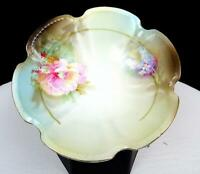 """RS GERMANY FLOWERS ON PASTELS BEADED SCALLOPED RIM 5 1/4"""" BERRY BOWL 1920-1944"""