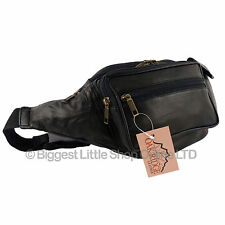 NEW Top Quality Mens LARGER LEATHER Black Waist BUMBAG Travel OAKRIDGE FannyPack