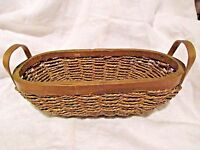 "METALLIC GOLD WOVEN WICKER 13"" BASKET STRAW WOOD EDGE HANDLES OVAL OBLONG"