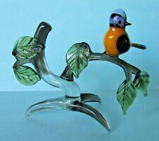 FAB RARE VINTAGE STUDIO ART GLASS BIRD ON A BRANCH ORNAMENT MURANO PIRELLI