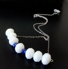 Fashion Horizontal  Crystal Necklace, White Blue, .925 Sterling Silver Chain