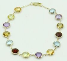 Multi-color 6 mm Gemstones Bracelet ,14k Yellow Gold 7 Inches Long