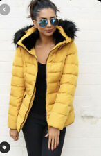 Zara Mustard Quilted Padded Removable Faux Fur Collar Puffer Coat Sz S Anorak