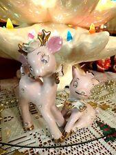 Vtg Christmas Anthropomorphic Pink Rhinestone Reindeer Salt Pepper Set Of Two