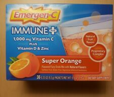 EMERGEN-C Immune Plus 1000mg Vitamin C + D & Zinc 30 Packets Super Orange Flavor