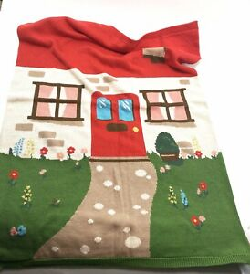 Cath Kidston Kids Country Cottage Design Knitted Jacquard Blanket Throw Rare