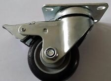 Braked swivel castor with roller bearing