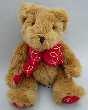 Harrods Teddy Bear Golden Brown Plush 10in Red Velvet Pads Logo Foot Paw