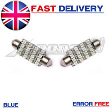 2x 42mm Azul 16 Smd Led Interior Festoon Luz bombillas T5 Transporter VW bus-van