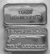 (50) 1 GRAM .999 PURE SILVER TACTICAL SHOTGUN 2ND AMENDMENT BARS