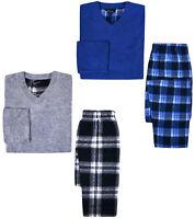 Boys Pyjama Set Kids New Long Sleeve Fleece Top Check Cotton Bottoms PJ 7-13 Yrs