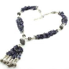 Necklace natural blue iolite gemstone beaded handmade chips beautiful 63 grams