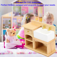 1:12 Dollhouse Miniature Furniture Bathroom Kitchen Wooden Hand Sink Decor