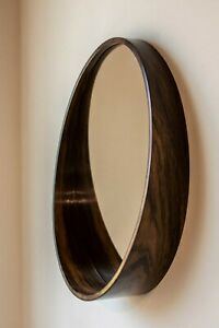 Mirror round wall wood veneer indian rosewood diameter 19,6in 50cm art object