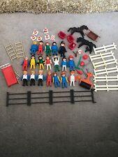 1974 Colección De Playmobil Figuras Enfermera Policía caballos valla