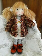 Knitted Waldorf Doll Girl with Rainbow Dress - New Unique Art Doll