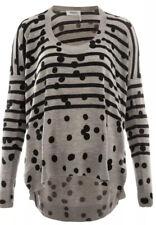 Sonia by Sonia Rykiel GreyBlack Dots/Stripes 100%Lana Wool Knitt Tunic/Sweater L