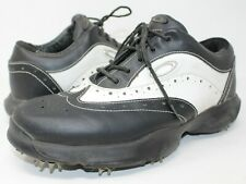 Oakley Black White Leather Wingtip Lace Up Soft Spike Golf Shoes Men's US 8