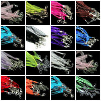 5/10Pc Organza Voile String Ribbon Cord Necklace Lobster Clasp Chain Jewelry DIY