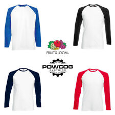 Fruit of the Loom Mens Baseball Long Sleeve T Shirt RAGLAN T FOTL Tee Top S 2XL