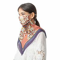 Mulberry Silk 2 in 1 Chain Pattern Soft Scarf Protective Face Mask- Brown Orange