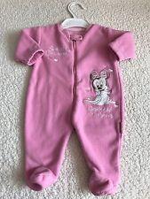 Girls Babygrows 0-3 Months - Disney Fleece Minnie Baby Grow Sleepsuit -