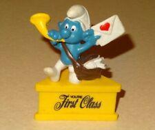 Smurfs YOU'RE FIRST CLASS Smurf-a-Gram Vintage Rare Figurine on Stand Postman