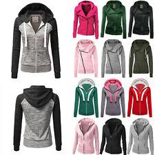 Womens Long Sleeve Hoodie Sweatshirt Zip Up Jacket Jumper Pullover Oversize Coat