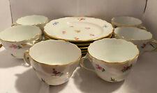 Elegant Meissen Porcelain Gold Scattered Flowers Coffee Tea Cup & PLATE Set Mint