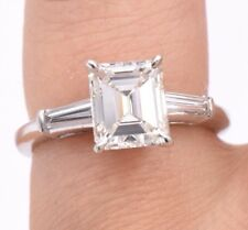 Natural 1.92ct Emerald Cut Diamond Engagement Ring In Platinum, GIA Certified