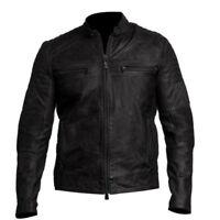 Mens Cafe Racer Biker Vintage Motorcycle Distressed Black Real Leather Jacket