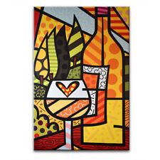 Canvas Bild, Giclée Kunstdruck, Leinwandbild nach ROMERO BRITTO Art 120 x 80 cm