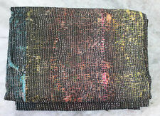 "Vintage Kantha Quilt Ralli Reversible Indian Sari Blanket Throw Black 55"" x 83"""