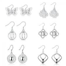 Lady Hoop Fashion Rhinestone Ear Stud Silver Plated Earrings Crystal