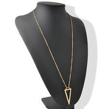 Fashion Gold Hollow Triangle Pendant Long Chain Necklace Geometric Jewelry