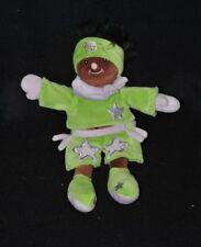 Peluche doudou poupée fille BABY NAT'  noire métisse vert mauve étoile 22cm TTBE