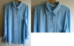 NWOT Joan Rivers Sweetheart Print Silky Long Sleeve Blouse Light Blue XL