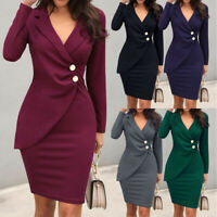 Women Ladies OL Business Office Work Formal Evening Party Bodycon Pencil Dress