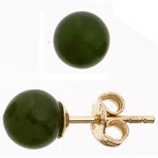 1 Paar Ohrstecker 333 Gold Gelbgold 2 Jade-Stein Ohrringe Damenschmuck Ø 6,4 mm