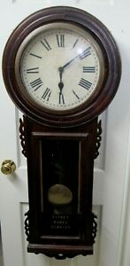 VINTAGE NEW HAVEN LONG DROP REGULATOR CLOCK- ADVERT. IS PITNEY-BOWES SERVICE  44