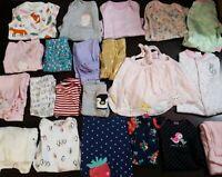 Lot of 21 Baby Girl 3 Month Old Clothing Sleeper Pajamas Bodysuit Pants Shirts