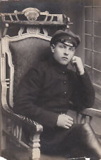 1924 Handsome young man in hat chair leather boots Russian antique photo gay int