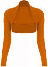 Womens Ladies Plain Long Sleeves Cropped Bolero Shrug Cardigan Top Plus Size8-26