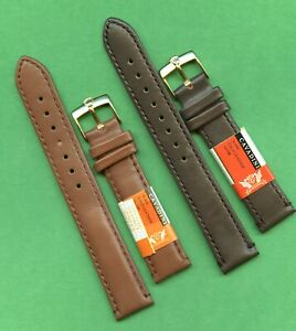GENUINE BROWN CALF LEATHER CAVADINI STRAP 18mm 19mm or 20mm & ROLEX GOLD BUCKLE
