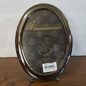 "Loui Michel Cie Oval Picture Frame Black Gold Brass 5"" x 7"" Anniversaire Laquer"