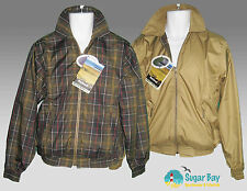 New BARBOUR Mens Collared Ayr Reversible GOLF JACKET  Sand and Tartan S