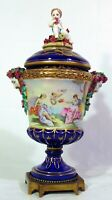 German Dresden Porcelain Urn Vase Bacchus Nude Woman Cherub Italian Capodimonte